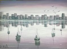 Reflection 11/06/2015 #painting #art Painting Art, New York Skyline, Reflection, Travel, Trips, Traveling, Art Paintings, Tourism, Painting