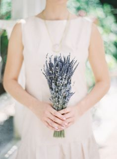 Simple Wedding Bouquet of Dried French and English Lavender