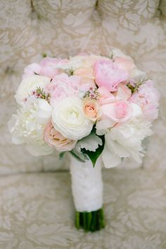 soft pink, peach, and white bouquet