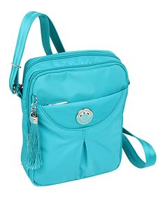 Beside-U Blue Virdian Keely Crossbody Bag | zulily  . $21.99 $87.00 Product Description:  Colorful and convenient, this versatile crossbody bag offers enough space and pockets to keep essentials secure and easily accessible.      7.1'' W x 8.1'' H x 2.8'' D     27.5'' max. strap drop     Man-made     Zip closure     Two compartments     Exterior: one zip pocket     Imported