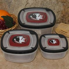 Florida State Seminoles (FSU) 3-Pack Square Food Containers