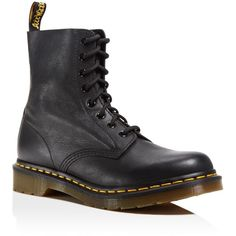 Dr. Martens Pascal Leather Combat Booties ($145) ❤ liked on Polyvore featuring shoes, boots, ankle booties, black, army boots, black ankle booties, leather boots, leather military boots and black booties