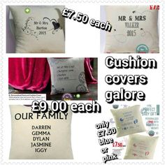 Family cushion covers personalised for you at knockdown prices. Mr Mrs, Cushion Covers, Internet, Pink, Free, Pillow Shams, Pink Hair, Roses, Pillow Covers