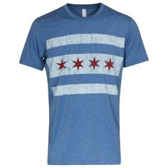 Chicago Mens Heather Royal Chicago Flag Tee by Clark Street Sports Chicago Shirts, Sport Outfits, Flag, Tees, Sports, Mens Tops, T Shirt, Clothes, Hs Sports