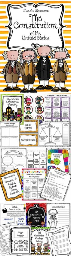 This large Constitution Unit contains the Constitutional Convention, Compromises, Ratification, Bill of Rights (10 Amendments) The Preamble, The 7 Articles, Activities and Games, Vocabulary Word Wall, Assessment, Mini-Anchor Posters, and much more!