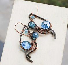 Unique Wire Wrap Sky Blue Crystals Spiral Handmade Earrings Stylish OOAK  #Jeanninehandmade #Wrap