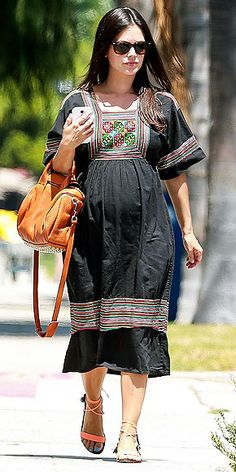 Rachel Bilson's Boho-Chic Bump Style | CAFTAN OF MY HEART  | Only this girl can make a muumuu look cool! The Hart of Dixie star hits the shops in Studio City, California, on Aug. 14 in an embellished dress and neon strappy sandals.