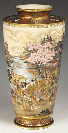 Satsuma high-shouldered vase - Ryozan