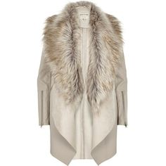 River Island Beige leather-look draped jacket ($190) ❤ liked on Polyvore featuring outerwear, jackets, coats, coats & jackets, fur, beige, coats / jackets, women, draped faux leather jacket and faux fur collar jacket