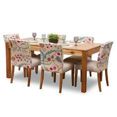 DESCRIPCIÓN Y MEDIDAS Hermoso, cálido ydivertido juego de comedor para 6 personas que incluye: 1 mesa rectangular de0,90 x 1,60 mts realizada enmadera par...