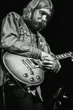 "Duane Allman doing his ""bird calls"" with his coricidin bottle slide. He always considered this a tribute to one of his favorite jazzers, legendary saxophonist Charlie ""Bird"" Parker."