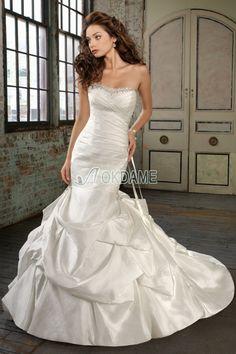 Gerüschtes Kapelle Schleppe Meerjungfrau ärmelloses luxus bodenlanges Brautkleid