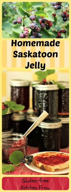 Preserve the bounty of sweet summer saskatoon berries in jars of glistening saskatoon jelly. A special ingredient enhances the berries' natural flavour. Saskatoon Recipes, Saskatoon Berry Recipe, Jelly Recipes, Jam Recipes, Recipies, Cooker Recipes, Keto Recipes, Gluten Free Kitchen, Pickled Carrots