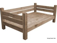 This bespoke rustic oak garden daybed is handmade to order from solid oak and finished in a protective outdoor furniture oil. Daybed Room, Diy Daybed, Outdoor Daybed, Outdoor Chairs, Sofa Beds, Farmhouse Daybeds, Rustic Couch, Furniture Making, Wood Projects