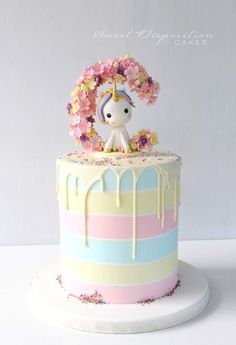 60 Simple Unicorn Cake Design Ideas Simple Unicorn Cake Design Ideas Inspired Photo of One Tier Birthday Cake Designs . Baby Cakes, Unicorn Cake Design, Unicorn Cakes, Unicorn Cake Topper, Beautiful Cakes, Amazing Cakes, Mini Cakes, Cupcake Cakes, Drip Cakes