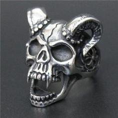 Stainless Steel Skull Vampire Goat Ring