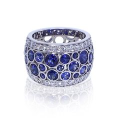 If you love sapphires, you will be amazed at the bubble sapphire band created by the skilled artisans at Jewelry Designs in Connecticut. Golden Jewelry, White Gold Jewelry, Gold Jewellery, Fine Jewelry, Sapphire Band, Sapphire Jewelry, Titanic Jewelry, Sunflower Jewelry, Color Ring