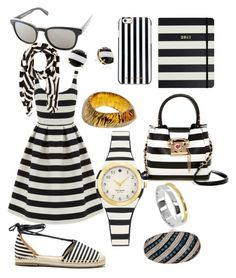 """""""City Walker Stripes"""" by bvn01 ❤ liked on Polyvore featuring Betsey Johnson, Warehouse, Kate Spade, MICHAEL Michael Kors, Sole Society, Vintage, Paul Smith, Maya Magal and Savvy Cie"""