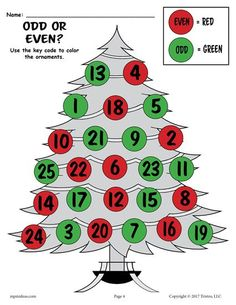 FREE Odd or Even Christmas Do-A-Dot Printable! Practice number recognition, odd and even, and more with these fun preschool Christmas worksheets! Includes numbers 1-25. Get all four printable preschool worksheets from this pack here --> https://www.mpmschoolsupplies.com/ideas/7875/free-printable-countdown-to-christmas-odd-and-even-worksheets/