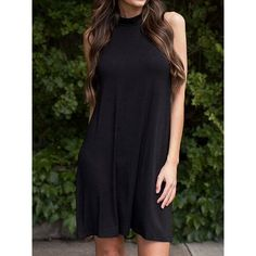 Choies Black High Neck Cut Away A-line Dress (€13) ❤ liked on Polyvore featuring dresses, black, high neck cocktail dress, a line cocktail dress, high neck dress, high neckline dress and a line dress