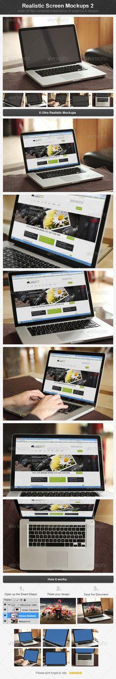 Realistic Screen Mockups 2 - Laptop Displays