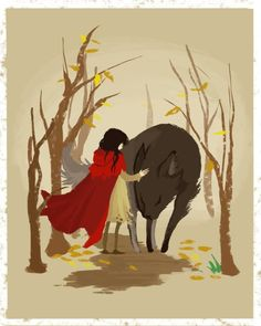 Little Red by on deviantART (Simply a beautiful illustration, but it tells a different story, how Little Red befriends the Wolf. Red Riding Hood Wolf, Little Red Ridding Hood, Illustrations, Illustration Art, Lobo Anime, Art Mural, Wall Art, Wolf Girl, Fairytale Art