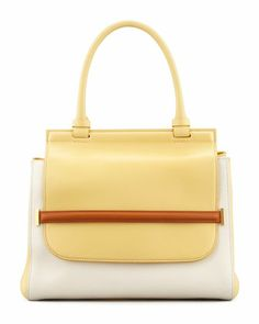 Fabulous...except the price!! Colorblock Top-Handle Satchel Bag, White/Camel/Canary by THE ROW