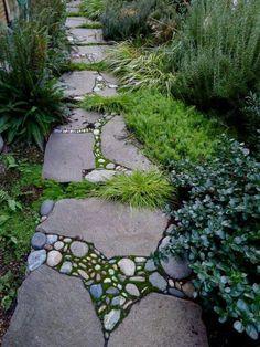 "Stone Mosaic / garden path - this may be my solution to the ""secret garden"" not having a path. Amazing Gardens, Beautiful Gardens, Path Design, Design Ideas, Rock Design, Floor Design, Dream Garden, Garden Projects, Backyard Landscaping"
