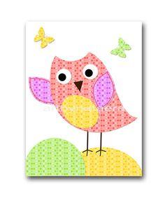 Baby Shower Gift Owl Decor Owl Nursery Decor Baby by artbynataera