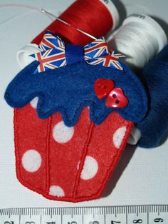Brooch British colours cupcake brooch with cute by thedovestop