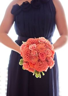 Image result for coral flowers blue bridesmaids