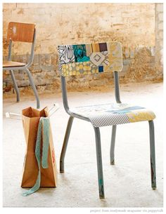 Take any old wooden chair and transform it with a little scrap booking paper and mod podge.