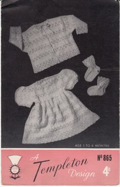 Vintage-baby-girl-dress-matine-jacket-knitting-pattern-fits-age-1-6-months
