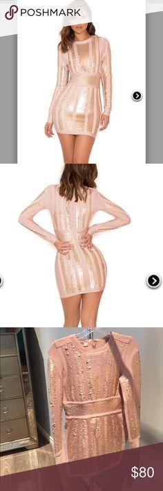 PINK & GOLD BANDAGE & SEQUIN DRESS PINK & GOLD BANDAGE & SEQUIN DRESS house of cb Dresses