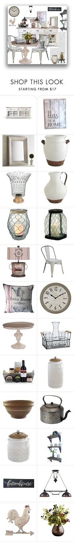 """Fixer Upper"" by marionmeyer ❤ liked on Polyvore featuring interior, interiors, interior design, home, home decor, interior decorating, Pier 1 Imports, Gerson, San Miguel and ELK Lighting"