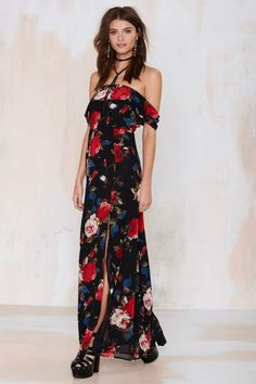 Coming Up Roses Maxi Dress - Midi + Maxi | Off The Shoulder