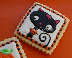 Cute Royal Icing Cat Cookie for Girls in 2014 Halloween - Girl Kitten, White Black and Orange  #2014 #Halloween