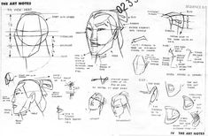 "Concept art and profile sketches of Shang from Disney's ""Mulan""."
