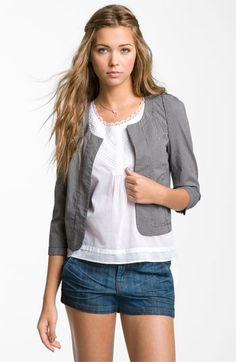 Frenchi® Railroad Stripe Crop Blazer (Juniors) available at #Nordstrom