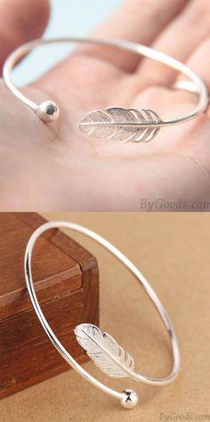 Sweet Silver Women Bangle Feather Adjustable Open Bracelet for big sale! #bracelet #silver #women #bangle #feather #sweet #silverbracelet