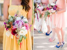 Loving the mix and match shoes!  Via greenweddingshoes.com