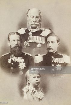 Four generations of Prussian/German Emperors: Wilhelm I., Friedrich III., Wilhelm II. and Crown Prince Friedrich Wilhelm. Photography by D. Wettern. Collage. 1885. (Photo by Imagno/Getty Images) [Vier Generationen preussischer/deutscher Kaiser: Kaiser Wilhelm I., Kaiser Friedrich III., Kaiser Wilhelm II. und Kronprinz Friedrich Wilhelm. Photographie von D. Wettern. Belichtungscollage. 1885.]