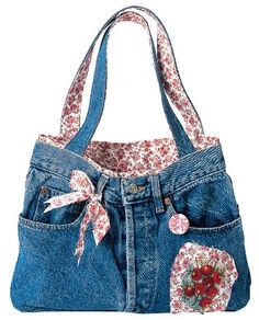 sac jean's Cute idea for homemade Christmas gifts Denim Bags From Jeans, Denim Tote Bags, Denim Handbags, Denim Purse, Diy Tote Bag, Denim Jeans, Jean Diy, Blue Jean Purses, Denim Crafts