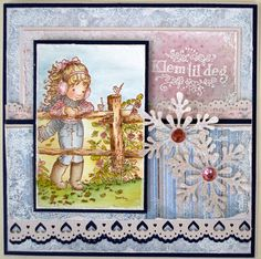 Annes lille hobbykrok: Stampavie, Winter card, Sarah Kay, Distress Ink