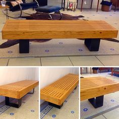 #MidCenturyModern #Oak And #Iron #SlatBench  #MuseumBench / #CoffeeTable IMO #GeorgeNelson . Info @ link below.