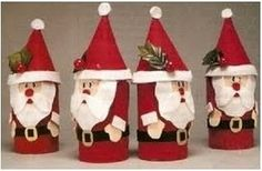 looks like toilet paper roll art. Santa Crafts, Christmas Crafts For Kids, Christmas Activities, Holiday Crafts, Christmas Diy, Christmas Decorations, Christmas Ornaments, Father Christmas, Paper Towel Roll Crafts