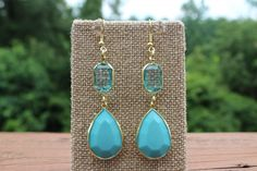 Peach Roots - Teal Rectangle and Teardrop Earrings, $5.00 (http://peachroots.com/teal-rectangle-and-teardrop-earrings/)