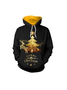 Plus Size Casual Women Christmas Tree Hooded Swearshirts