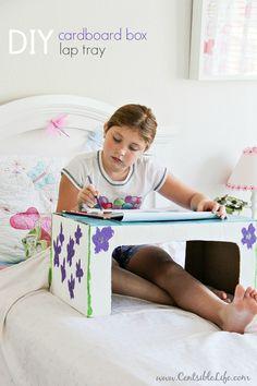 DIY Cardboard Box Lap Tray   via centsbilelife.com