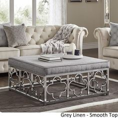 Solene Chrome Quatrefoil Base Square Ottoman Coffee Table by iNSPIRE Q Bold - On Sale - Overstock - 18594315 - Grey Linen - Button Tufts Square Ottoman Coffee Table, Round Storage Ottoman, Ottoman Table, Round Ottoman, Large Square Coffee Table, Coffee Tables, Ottoman Decor, Black Furniture